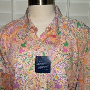 CHAPS CLASSICS Pink Paisley No Iron Shirt NEW 3X